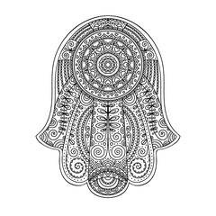 Doodle hamsa. Vector hand drawn hamsa with doodle ornament. Amulet with ethnic design. Good luck amulet. Isolated. Outline. Black and white.