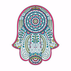 Doodle hamsa. Vector hand drawn hamsa with doodle ornament. Amulet with ethnic design. Good luck amulet.  Isolated. Pink, yellow and blue colors.