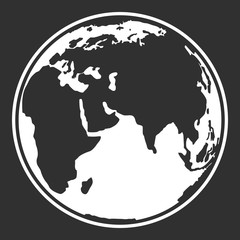 Earth planet globe web and mobile icon in black and white