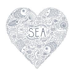 Sea heart. Vector hand drawn doodle sea elements - fish, sea star, sea horse, crab, anchor, bubbles. Pattern for coloring book. Outline. Love sea.