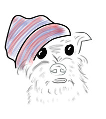 Vector. dog in a knitted hat.