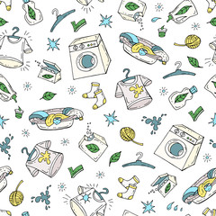Vector seamless pattern with hand drawn colored washing symbols.  Pattern on the theme of laundry