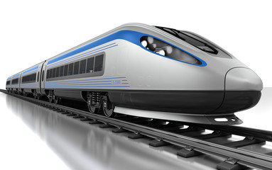 High-speed bullet train. 3d render
