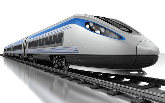 High-speed bullet train. 3d render
