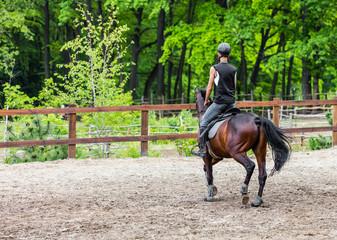 male athlete rides on horse