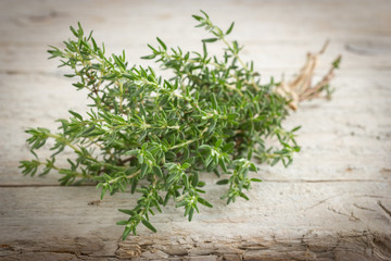 Freshly harvested bunch of thyme on wooden rustic background