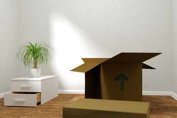 3d rendering of relocation. Empty room with cardboard boxes and beaucarnea plant. Selected focus area