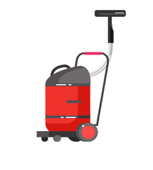 Flat vacuum cleaner icon with long shadows. Vector illustration.
