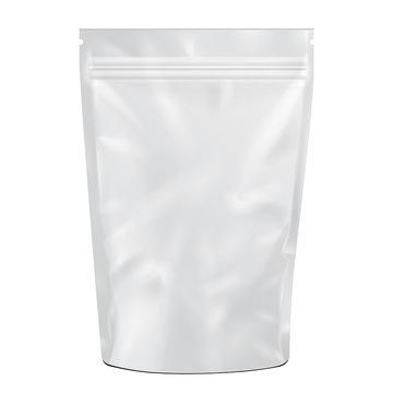 White Blank Foil Food or Drink pack Bag Vector EPS10