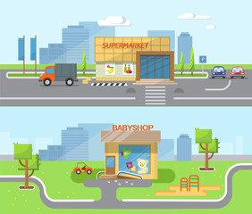City background with shop building, street. Vector flat illustration of city streets with the children's shop, supermarket