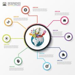Infographic design template. Creative world. Vector