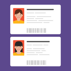 Id cards with the cute persons. Vector illustration. Flat design style