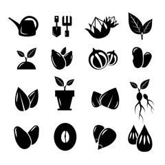 Wall Mural - Seed and gardening vector icons