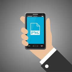 Hand holding smartphone with png icon