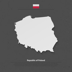 Republic of Poland isolated map and official flag icons. vector Polish political map 3d illustration. European country geographic banner template