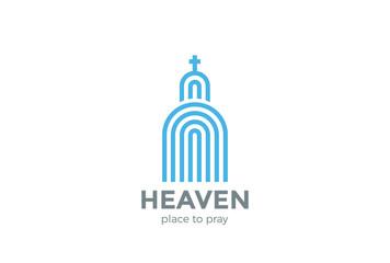 Church Logo Religion abstract design vector Linear Catolic шсщт