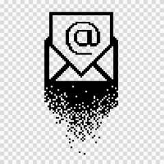 Black pixelated image of email sign in envelope
