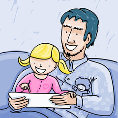 Cartoon of father and daughter seated at couch