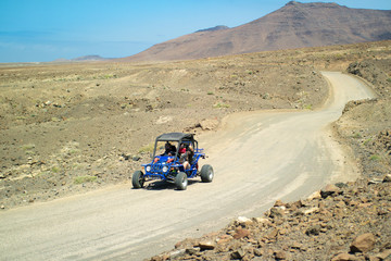Blue Buggy at Jandia at Fuerteventura; Canary Islands