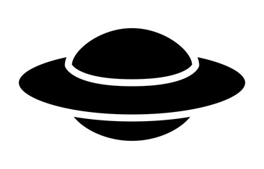 UFO alien saucer - unidentified flying object flat icon for apps and websites