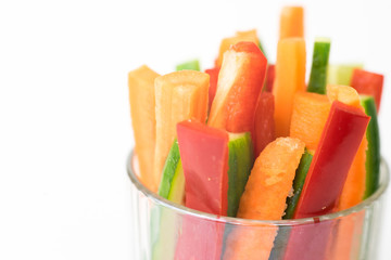 Close up of colorful vegetable sticks