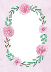 Watercolor floral wreath. Perfect for greeting cards or invitati