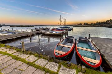Wall Mural - Rental rowing boats in a marina at dutch lake