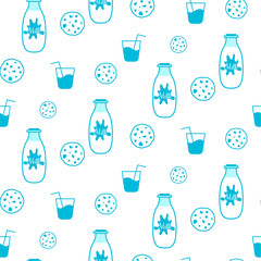 Milk and cookie blue and white seamless vector pattern. Milk bottle, biscuits and glass of milk pattern.