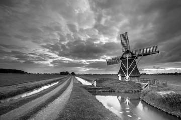Rural Wooden windmill black white