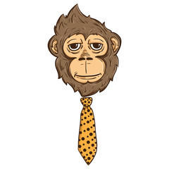 Illustration Of Monkey Face With Tie Like A Boss Also With Line And Color