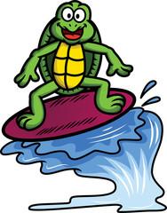 Turtle Surfer Cartoon