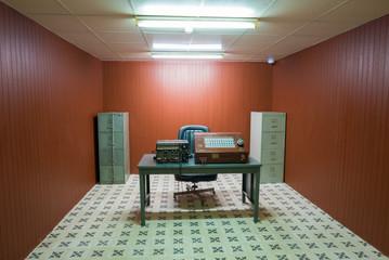 Antique War radio transmitter room in bunker, Independance Palac