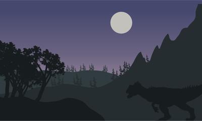 Silhouette of one Allosaurus in fields