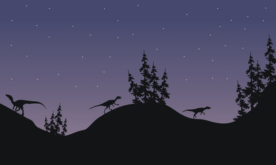 Silhouette of Eoraptor with star