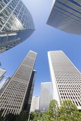 新宿高層ビル街 ローアングル コクーンタワー 快晴 青空 新緑 緑 春