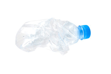 water bottle crushed crumpled on the white background