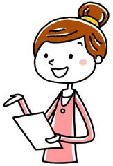 イラスト素材:書類を持って話す若い女性