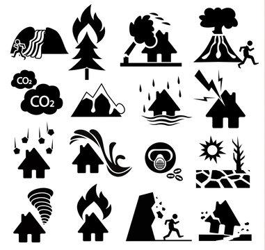 natural disaster icon set