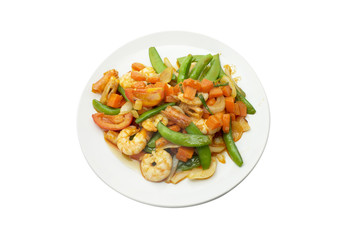Stir fried mixed vegetable and shrimp