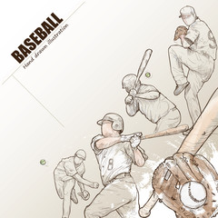 Illustration of baseball. hand drawn. baseball poster. Sport background.