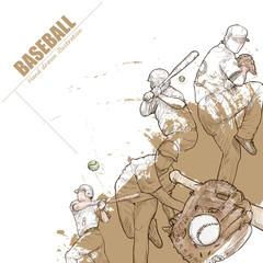 Illustration of baseball. hand drawn. baseball poster. Sport background.