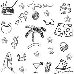 Black white doodle summer