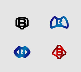 Abstract Letter b Icon set, collection