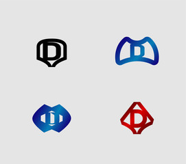 Abstract Letter d Icon set, collection
