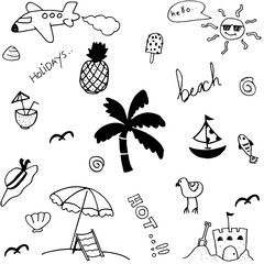 Set holiday in beach doodle