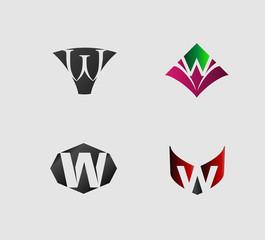 Set of letter W logo