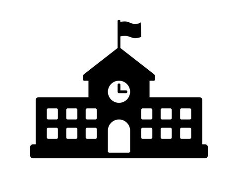 School building with clock and flag flat icon for apps and websites