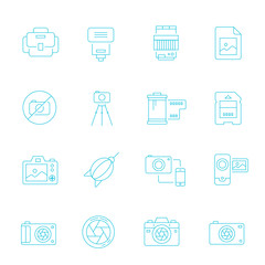 Thin lines icon set - camera and accessory