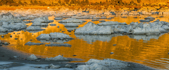 Rock Salt Tufa Formations Sunset Mono Lake California Nature
