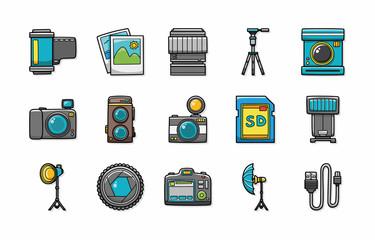 Camera and photo icons set,eps10
